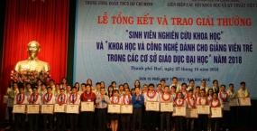 Đại học Đà Nẵng đạt nhiều Giải thưởng Khoa học công nghệ Toàn quốc dành cho giảng viên trẻ và sinh viên năm 2018