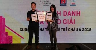 Sinh viên Trần Nhật Tiến và Trần Phước Bảo Thư (lớp 14 KT) nhận giải Đồng tại cuộc thi Nhà thiết kế trẻ Châu Á 2018